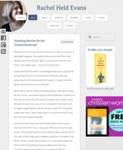 """Screenshot of Rachel Held Evans's eponymously titled blog. Screenshot is of post """"Traveling Mercies for the 'Consummate Ass'"""""""