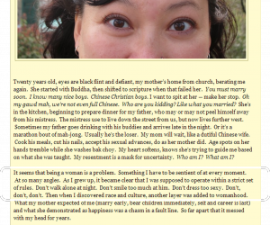Screenshot of Nomadic Chick's blog, with image of face and text beneath it