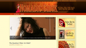"""Screenshot of Nomadic Chick's blog, with the header image and title """"Nomadic Chick: Putting the Gypsy Back into Travel and Life"""""""