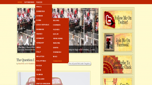 """Screenshot of the Nomadic Chick blog, with the menu of """"Places"""" expanded to reveal a list of several countries and several places located within China"""