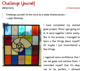 """Screenshot of blog post, """"Challenge Yourself,"""" with text and image of stained glass design"""
