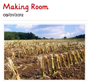 """Screenshot of blog post, """"Making Room,"""" with an image of field with crops that have been harvested"""