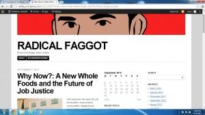 A Screenshot of the blog Radical Faggot