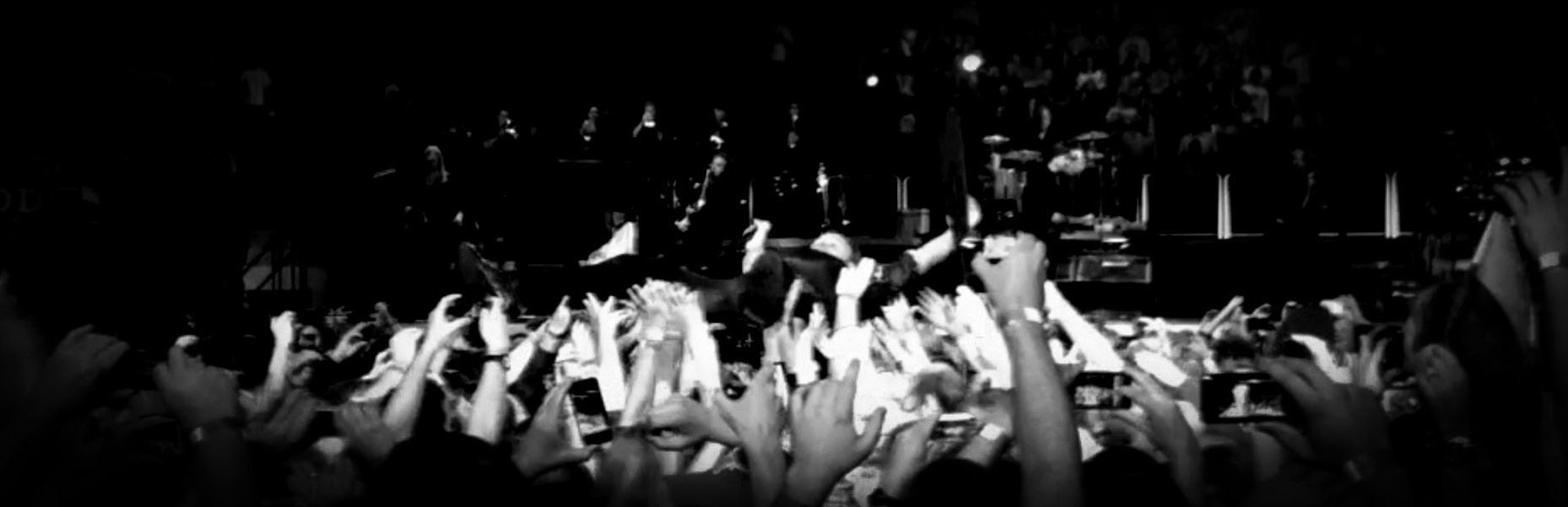 Concert Crowd From Stage Black And White