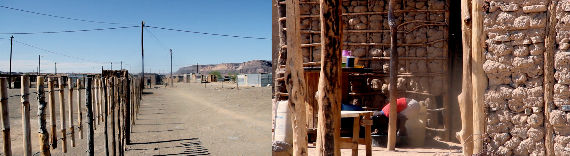 Images depict the resourceful ways that locals in Namibia have constructed fences and homes. Left is an image of a fence constructed from branches and wire; right, view of the gridded tree and mud construction from which homes have been built.