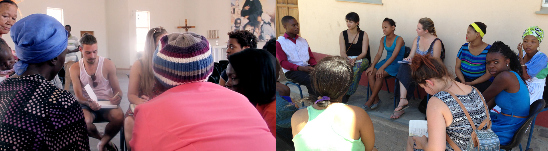 Images depict students engaged in discussions with community members at the church. Students can be seen taking fieldnotes.